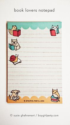 Full color notepad featuring animals reading books - perfect for a book lover gift. Original design and illustration by Susie Ghahremani /…