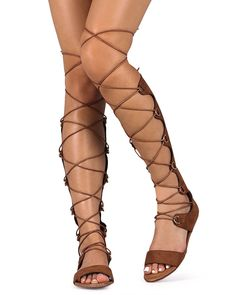 Liliana DI14 Women Suede Open Toe Lace Up Knee High Gladiator Sandal - Cognac *** Hurry! Check out this great product : Lace up sandals