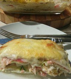 witlof lasagne koolhydraatarm en vol met eiwitten. met gerookte zalm en kokos/kruidenkaas saus