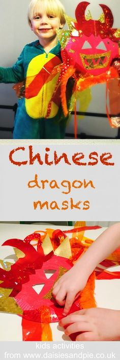 Chinese dragon mask craft for kids - step by step instructions of making an awesome dragon mask, fab kids craft for Chinese New Year celebrations |  Daisies & Pie