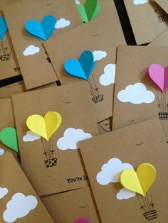 Hot Air Balloon Cards   Balloon Heart Invitation With Envelope   Handmade  Cards   Paper Crafts   Heart Invitations   Party Notes
