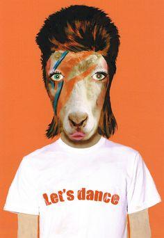 David Bowie Goat Art Print Illustration Acrylic by bobogalerie, $15.00