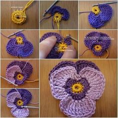 DIY Crochet Violet Flower Free Pattern Detailed Tutorial, English Pattern available, crochet pansy flower for fashion, accessory and home. How to Crochet Violet Flower Pattern (detailed tutorial) -. (Mingky Tinky Tiger + the Biddle Diddle Dee) Crochet Vio Crochet Simple, Crochet Diy, Crochet Amigurumi, Crochet Motifs, Crochet Flower Patterns, Crochet Gifts, Crochet Flowers, Crochet Stitches, Knitting Patterns