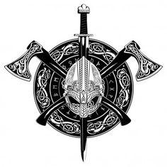 Wikungshelm Kreuzte Wikingerachsen Und Einem Kranz Stock-Vektorgrafik (Lizenzfrei) 639951331 Viking helmet, crossed viking axes and in a wreath of Scandinavian pattern and viking shield, vector illustration Norse Mythology Tattoo, Norse Tattoo, Celtic Tattoos, Armor Tattoo, Viking Tattoos For Men, Wiccan Tattoos, Inca Tattoo, Indian Tattoos, Tattoo Symbols