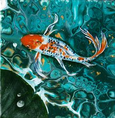 Acrylic pouring combined with painting Butterfly Koi, Acrylic Pouring, I Shop, My Design, Pets, Painting, Animals, Animales, Animaux