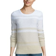 Liz Claiborne Long-Sleeve Ombr Marled Sweater ($54) ❤ liked on Polyvore featuring tops, sweaters, cotton sweaters, long sleeve cotton tops, side slit sweater, ombre sweater and liz claiborne tops