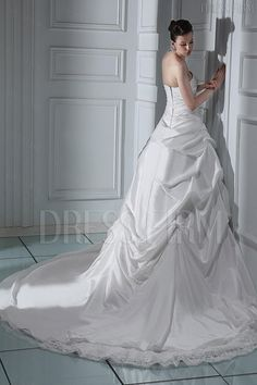 66b12c729d Fabulous Strapless Ball Gown with Chapel Train Lace Wedding Dress WD-11033  Chapel Train