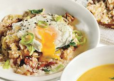 Bacon and Leek Risotto with Poached Eggs. oh my, this was so, so good! perfect cold weather brunch :)