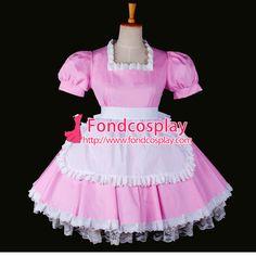 Free Shipping Sexy Sissy Maid Dress Lockable Uniform Pink Cotton Dress Cosplay Costume Custom-made