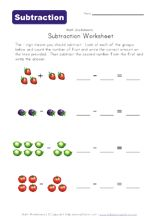 subtraction worksheet fruit