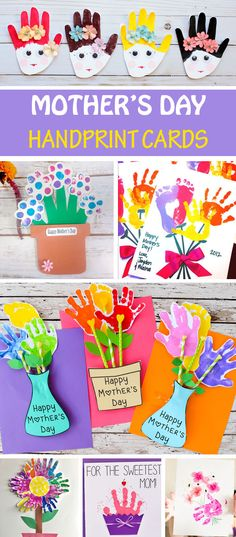 15 Mother's Day handprint cards for kids to make for mom and grandma: handprint flower cards, flower pot cards, heart, cupcake and portrait cards. #MothersDay #handprint #MothersDayCards