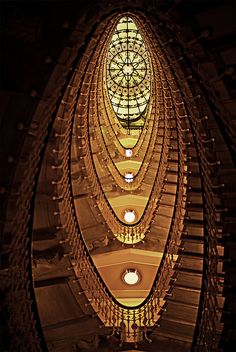Staircase at the Bristol Palace Hotel, Genoa, Italy