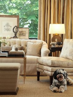 Simple Sophistication. Calico Corners.  TABLE TOP STYLING IN BACK OF SOFA UNDER A WINDOW IS ALWAYS AN INTERESTING LOOK