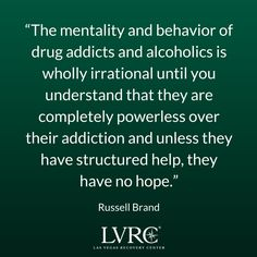 Great quote about addiction from actor and comedian Russell Brand