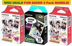 Fujifilm Instax Mini 3 Pack BUNDLE ★ 1 X Comic Film ★ 2 X Mickey Film ★ 10 sheets X 3 Pack = 30 Sheets! ★BONUS-FREE★ Wiki Deals Colorful Micro Fiber Cloth!