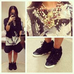 Bare legs..it's hot out there!  #chanel jacket circa 2005 #chanel lion head top #chanel belt worn as a necklace #celine skirt #hermes #cdc #kellydog #chanel 3D flowers #sneakers #kicks #msneakerpimp #blogger #style #fashion #instagood #ootd #wearingnow #whatiwore #pictureoftheday #photooftheday