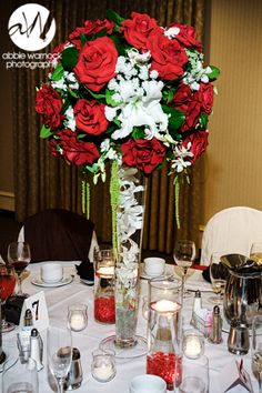 wedding day - details - ideas - flowers - floral- centerpiece - centerpieces - arrangement - tall - red roses - white - photography by Abbie Warnock