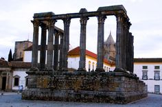 Roman structure cathedral in Evora, Alentejo, Portugal Pack Your Bags, Cathedrals, Roman Empire, Marina Bay Sands, Portugal, Stone, Building, Travel, Rock