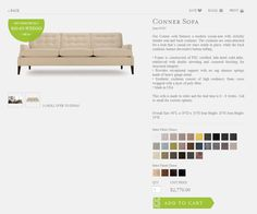 This beautiful product detail page offers various options to customize your high end furniture online. Web Design Examples, Ecommerce Web Design, Furniture Online, Detail, Beautiful