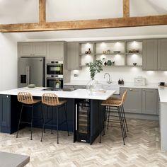 Open Plan Kitchen Dining Living, Open Plan Kitchen Diner, Galley Kitchen Design, Kitchen Room Design, Kitchen Cabinet Design, Modern Kitchen Design, Living Room Kitchen, Home Decor Kitchen, Kitchen Interior