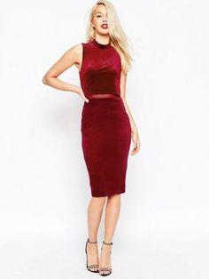 674b44188d ASOS Crop Top Velvet Midi Body-Conscious Dress - Shop for women s Dress -  Black