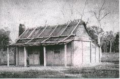 The Kelly house at Eleven Mile Creek (Greta) Australian Bush, Australian Homes, Wattle And Daub, Ned Kelly, Natural Homes, Australian Architecture, Old Farm Houses, House Drawing, Victoria Australia