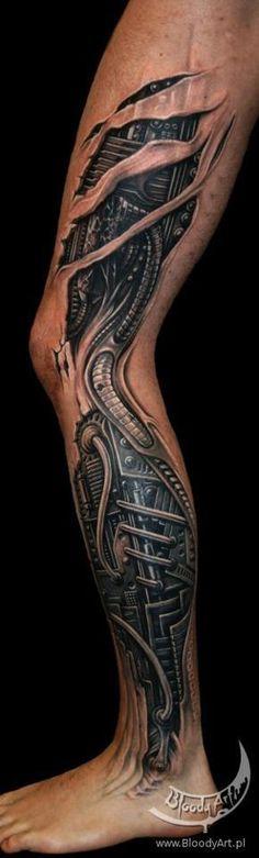 See more 3D mechanical leg tattoos on leg