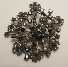 EP Signed Black & Gray RHINESTONE Brooch  #EP #ebay #rhinestone #jewelry #brooch