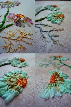 Ribbon Embroidery - using ribbons for embroidering flower petal  ...exquisite examples of embroidery