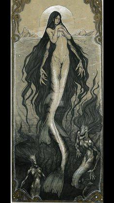 The deadly sirens (not a mermaid) Dark Mermaid, Siren Mermaid, Mermaid Art, Mythological Creatures, Fantasy Creatures, Mythical Creatures, Sea Creatures Drawing, Dark Fantasy, Fantasy Art