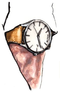 Illustration of man wearing a watch Watercolor Fashion, Watercolor And Ink, Colorful Drawings, Cute Drawings, Daily Fashion, Fashion Art, Watch Drawing, Foto Gif, Sketch A Day