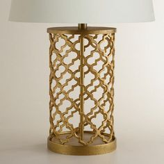 One of my favorite discoveries at WorldMarket.com: Distressed Gold Moroccan Table Lamp Base. I'm looking for a new lamp for our living room & this one would be CUTE!!