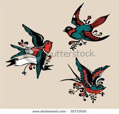 stock-vector-vintage-birds-tattoo-35773930.jpg (450×433)