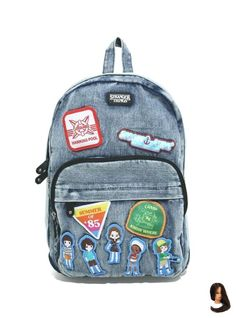 Loungefly Stranger Things Patch Denim Backpack - BoxLunch Exclusive - New Ideas Stranger Things Patches, Stranger Things Kids, Stranger Things Netflix, Denim Backpack, Jansport Backpack, Millie Bobby Brown, Wonder Woman, Backpack Decoration, Disney Pixar Up