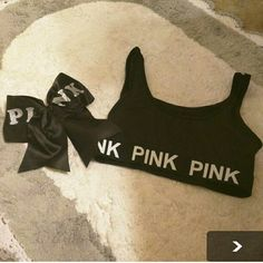 PINK CHEER SET NEW MED PINK SPORTS BRA AND CHEER BOW PINK Victoria's Secret Tops