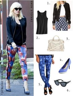 Gwen Stefani's varsity jacket and floral pants look for less / Shop the look at Thebudgetbabe.com