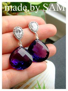 Only pair -Gemstone purple amethyst earrings