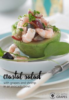 Summertime is salad time - try this Coastal Salad with Grapes from California and Shrimp, found among seven other salad ideas in our free digital cookbook. Go With Grapes Healthy Food Options, Good Healthy Snacks, Healthy Meal Prep, Easy Healthy Recipes, Healthy Cooking, Grape Recipes, Avocado Recipes, Summer Recipes, Salad Recipes