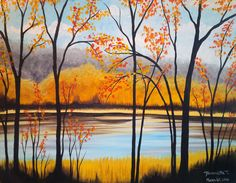 We host painting events at local bars. Come join us for a Paint Nite Party! Night Sky Painting, Sunrise Painting, Moon Painting, Autumn Painting, Autumn Art, Beautiful Landscape Paintings, Seascape Paintings, Landscape Art, Tree Paintings