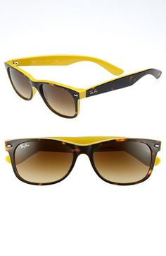 448580d8b9c4a Yellow trimmed Ray-Ban  New Large Wayfarer  55mm Sunglasses available at   Nordstrom