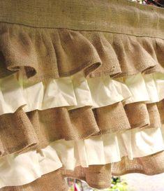 Cream and Natural Ruffled Burlap Valance burlap ruffled curtains Rustic Fabric, Burlap Fabric, Cotton Fabric, Burlap Valance, Ruffle Curtains, Baby Crib Diy, Baby Cribs, Small Bathroom Window, Burlap Window Treatments