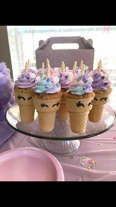 Unicorn cupcake cones- bake cupcakes inside an ice cream cone. Cute unicorn birthday party dessert treat ideas for kids. Dessert Party, Birthday Party Desserts, Unicorn Birthday Parties, Birthday Party Decorations, Cupcake Ideas Birthday, Birthday Food Ideas For Kids, 7th Birthday Party For Girls Themes, Party Themes For Kids, Lol Birthday Cake