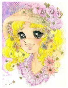 Candy con cappello e tanti fiori - disegno originale di Yumiko Igarashi.