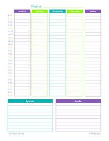 free printable, weekly planner, schedule, half hour increments,