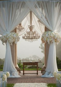 I think this would be a cool way to dress up the stage area of the church. Minus the chandelier because I don't think I'll be finding that on the cheap.
