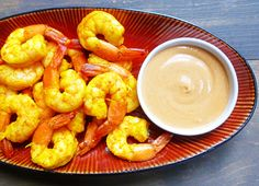 roasted ginger shrimp and peanut sauce. couldn't be easier!