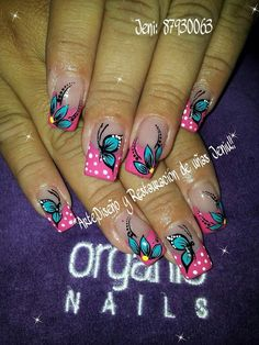 Funky Nails, Cute Nails, Pretty Nails, May Nails, Nails Only, Rodeo Nails, Butterfly Nail Art, Plaid Nails, Finger