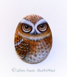Hand Painted Stone Pretty Light Brown Owl  Is by RockArtAttack