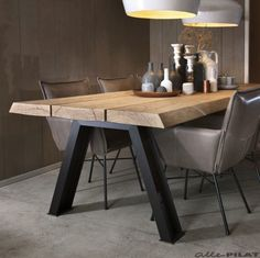 Industrial dining furniture - Wonderful Contemporary Dining Room Decorating Ideas To Try – Industrial dining furniture Furniture Sets Design, Dining Furniture Sets, Industrial Design Furniture, Industrial Dining, Modern Industrial, Vintage Industrial, Steel Furniture, Wooden Furniture, Kitchen Furniture