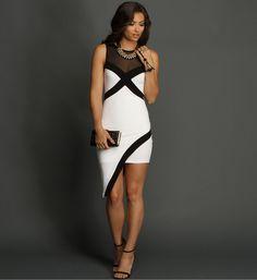 White 2-Tone Mesh Asymmetrical Dress at WindsorStore